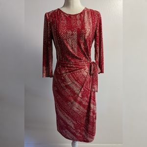 AA Studio Red Beige Wrap Style Dress Sz 6